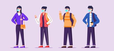 Student in New Normal Protocol Character Set vector