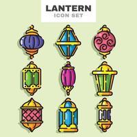 Eid Lantern Icon Set vector