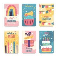 Colorful Doodles Birthday Card Collection vector