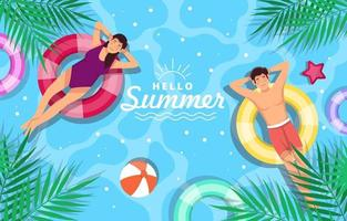 People Enjoying Summer in Swimming Pool vector