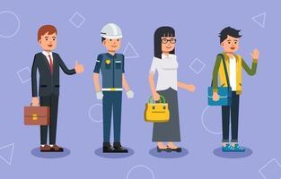 Carácter de personas en diferentes profesiones. vector