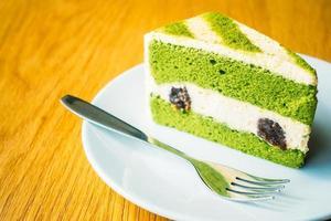 pastel de té verde matcha foto