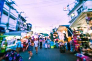 Abstract defocused night market street in Hua Hin photo