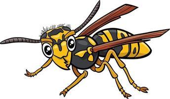 ilustración de dibujos animados de carácter de insecto avispa o jellowjacket vector