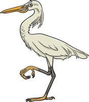 cartoon egret bird comic animal character vector