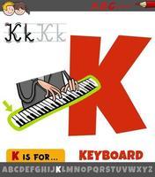 letra k del alfabeto con la palabra del teclado vector