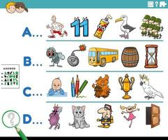 first letter of a word cartoon educational task for children vector