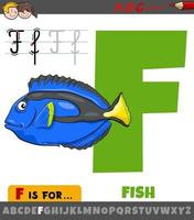 letter F from alphabet with cartoon fish animal character vector