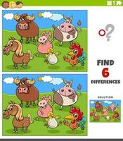 differences educational game with cartoon farm animals vector