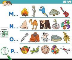 primera letra de un juego educativo de palabras para niños. vector