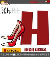 letter H from alphabet with cartoon high heels vector