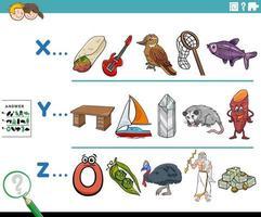 primera letra de una palabra actividad educativa de dibujos animados para niños vector
