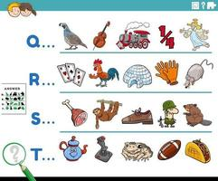 primera letra de una palabra tarea educativa de dibujos animados para niños vector