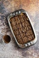 Freshly baked pan of brownies photo