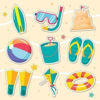 paquete de pegatinas de playa de verano vector