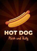 Fast food meal hot dog with fresh and tasty inscription restaurant advertising poster design template. Hotdog sausage in bun with mustard flat vector promo illustration on dark rays