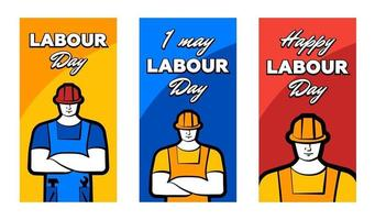 Worker man in construction helmet and inscription Happy labour day. 1 may greeting card set. Vector illustration for poster, banner, ad, promotion, flier, blog, article, social media, marketing