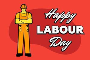 Worker man in yellow construction helmet and inscription Happy labour day. 1 may greeting card. Vector illustration for poster, banner, ad, promotion, flier, blog, article, social media, marketing