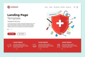 Medical insurance or immune system concept landing page design template. Red shield on patient protection policy with medicine pharmacy drugs and preparations. Vector medical website eps illustration
