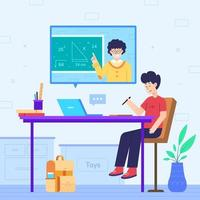 Online Education at Home Concept vector