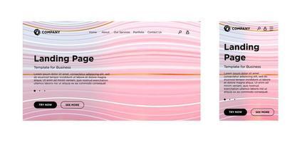 página de destino, plantilla en blanco, PC de escritorio y versión adaptable móvil. fondo geométrico mínimo. Composición dinámica de líneas de volumen. diseño vectorial para aplicaciones o sitios web corporativos de negocios. eps 10 vector