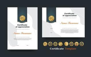 Certificado de plantilla de reconocimiento y diseño de insignias premium de lujo vectorial. vector
