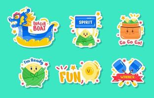 Cute Dragon Boat Festival Sticker Set vector
