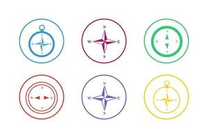 Colorful Compass Icon Set vector