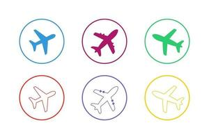 Colorful Airplane Icon Set vector