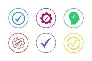 Colorful Check Icon Set vector