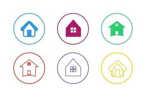 Colorful House Icon Set vector