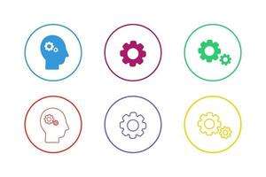 Colorful Gears Icon Set vector