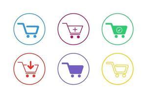Colorful Shopping Cart Icon Set vector