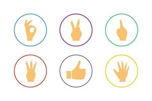 Colorful Hand Icon Set vector