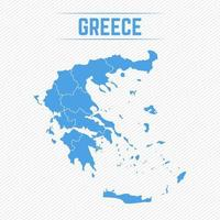 Greece Detailed Map With States vector