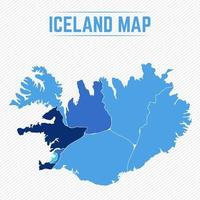 Iceland Detailed Map With States vector