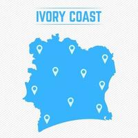 Ivory Coast Simple Map With Map Icons vector