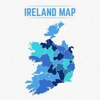 Ireland Detailed Map With States vector
