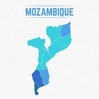 Mozambique Detailed Map With Regions vector
