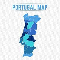 Portugal Detailed Map With States vector