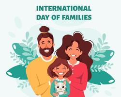 Happy family with daughter and cat. International Day of families. Vector illustration