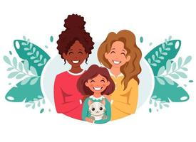 Lesbian family with daughter and cat.  LGBT family. Vector illustration in flat style.
