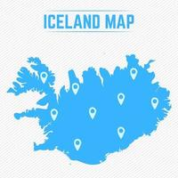 Iceland Simple Map With Map Icons vector