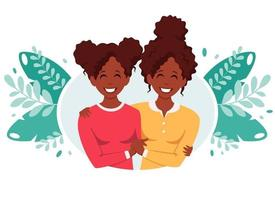 African american lesbian family. LGBT couple. Vector illustration