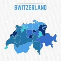 Switzerland Detailed Map With States vector