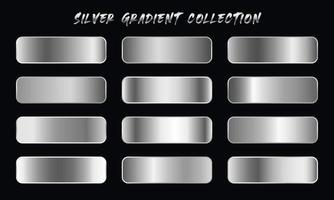 Silver Gradients Swatches Set vector