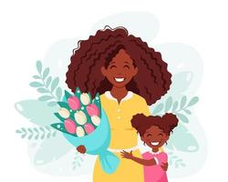 Mother's day greeting card. Black woman with bouquet of flowers and daughter vector