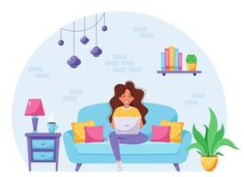 Woman sitting on a sofa and working on laptop. Freelancer, home office concept. Vector illustration