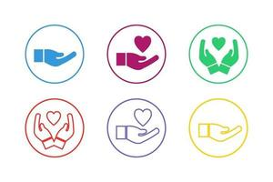 Colorful Helping Hand Icon Set vector