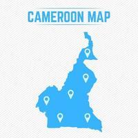 mapa simple de camerún con iconos de mapa vector